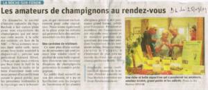 Exposition champignons 2019, article Dauphiné libéré du 25 septembre