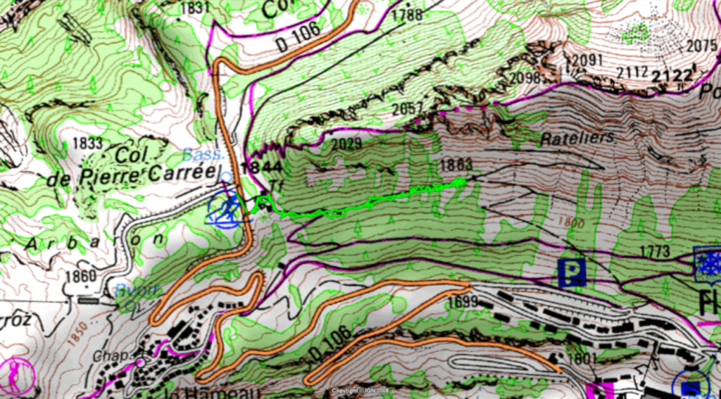 Parcours au Col de la Pierre carrée (sortie 25 juin 2020)